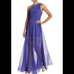 Halston One Shoulder BLACK Chiffon Dress 8
